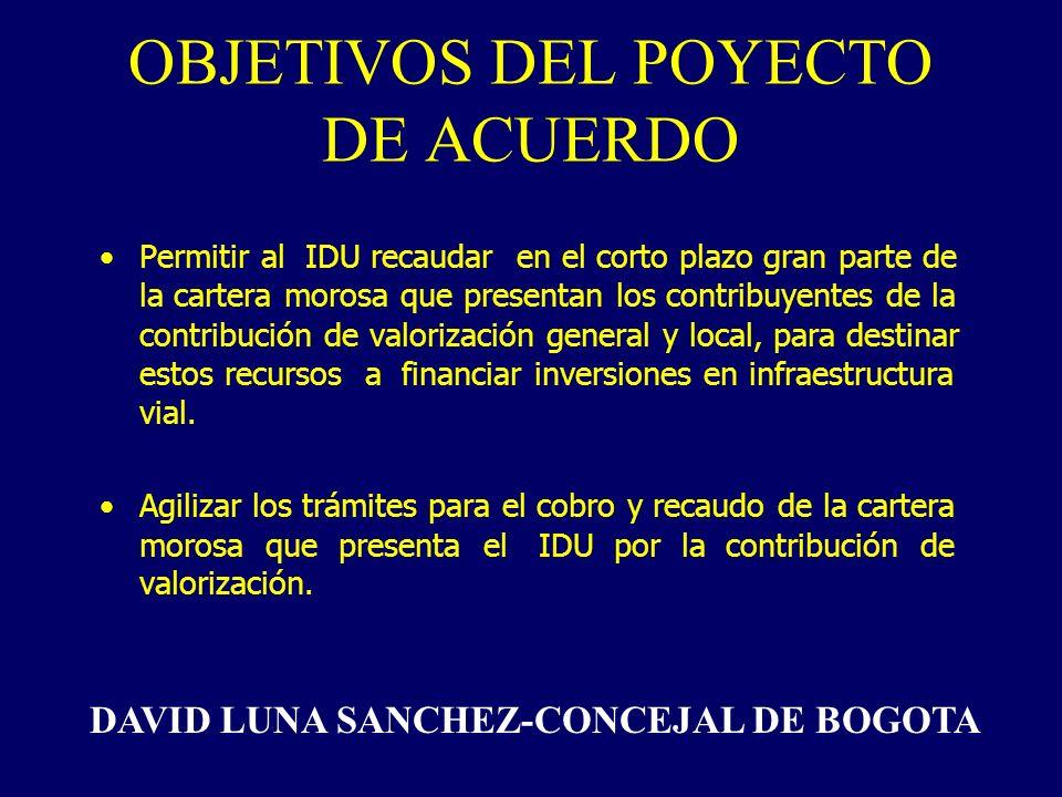 Permitir al IDU recaudar en el corto plazo gran parte de la cartera morosa que presentan los contribuyentes de la contribución de valorización general y local, para destinar estos recursos a financiar inversiones en infraestructura vial.