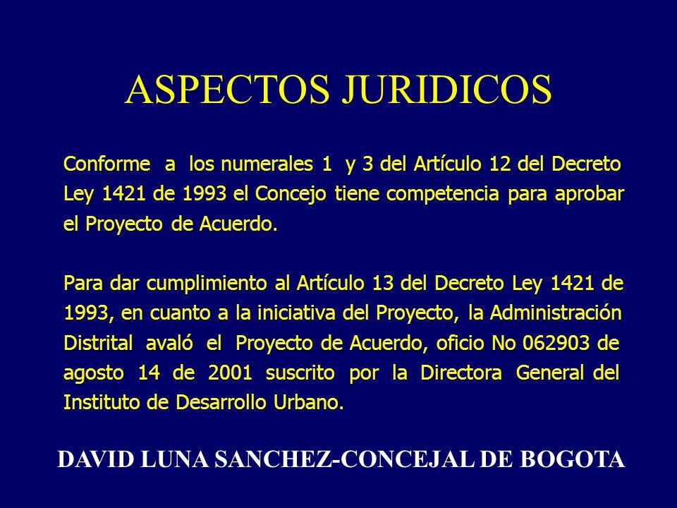 ASPECTOS JURIDICOS Conforme a los numerales 1 y 3 del Artículo 12 del Decreto Ley 1421 de 1993 el Concejo tiene competencia para aprobar el Proyecto de Acuerdo.