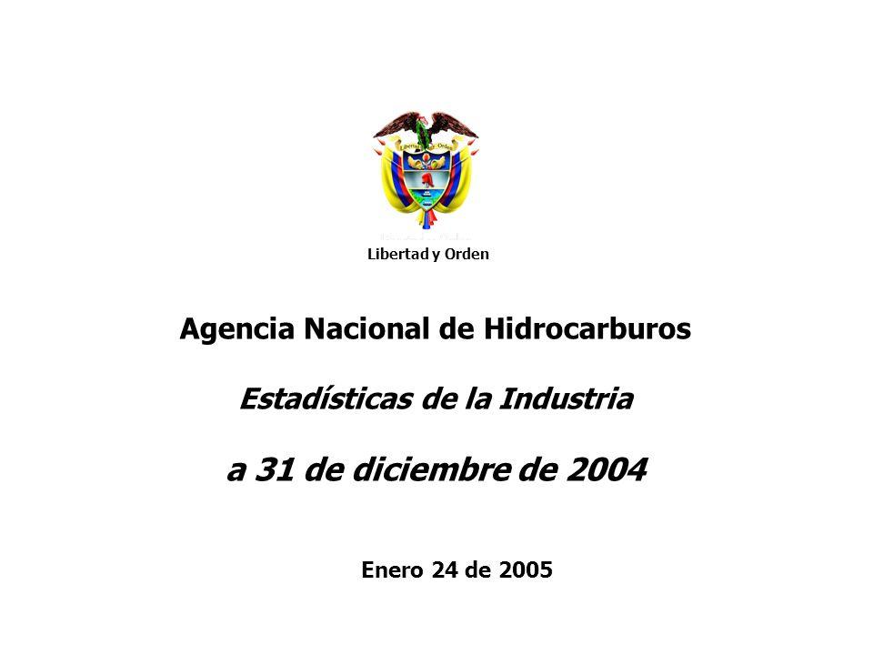 Agencia Nacional de Hidrocarburos Novedades SIGOB 2004 Contratos: se firmaron 32 contratos: 28 por parte de la ANH (21 E&P y 7 TEAs) y 4 por parte de ECP (Oxy, Perenco, SLB, Ramshorn) Sísmica: se concluyó el programa de sísmica 2D en bloque Tayrona (3.639 km) -total adquirido 2004: 6.767 km equivalentes -meta del cuatrienio ya fue superada: 11.315 vs 10.000 programados Pozos A-3: se concluyó el 100% de la perforación de 21 pozos;.