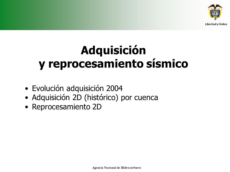 Libertad y Orden Agencia Nacional de Hidrocarburos Adquisición y reprocesamiento sísmico Evolución adquisición 2004 Adquisición 2D (histórico) por cue