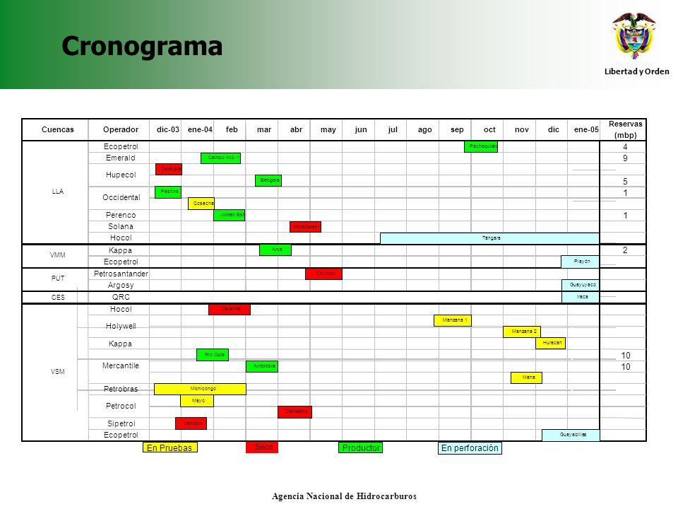 Libertad y Orden Agencia Nacional de Hidrocarburos Adquisición y reprocesamiento sísmico Evolución adquisición 2004 Adquisición 2D (histórico) por cuenca Reprocesamiento 2D