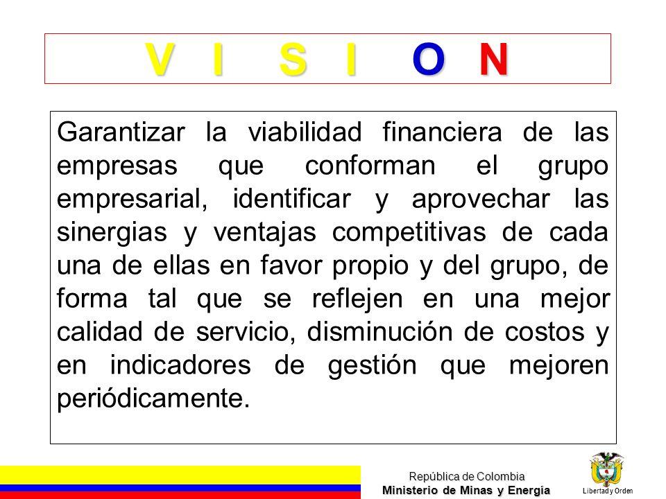 República de Colombia Ministerio de Minas y Energía Libertad y Orden Prioridad en los Planes de Negocios Distribución de Energía Eléctrica Comercialización de Energía Compras de Energía - Generación Propia Otros Costos E X I T O