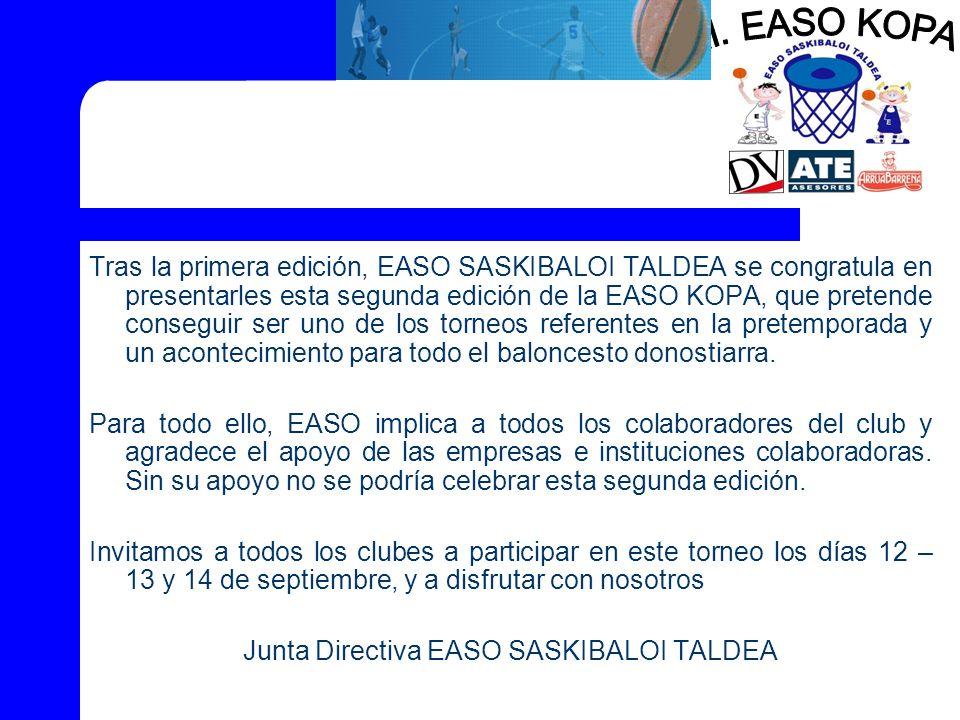Tras la primera edición, EASO SASKIBALOI TALDEA se congratula en presentarles esta segunda edición de la EASO KOPA, que pretende conseguir ser uno de los torneos referentes en la pretemporada y un acontecimiento para todo el baloncesto donostiarra.