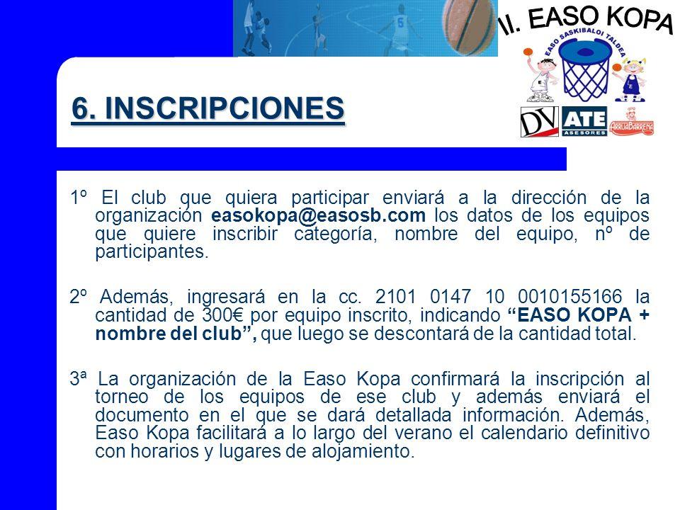 6. INSCRIPCIONES 1º El club que quiera participar enviará a la dirección de la organización easokopa@easosb.com los datos de los equipos que quiere in