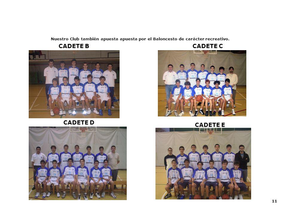11 CADETE D CADETE B Nuestro Club también apuesta apuesta por el Baloncesto de carácter recreativo. CADETE E CADETE C