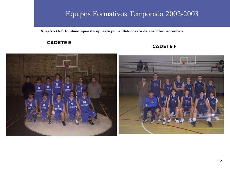 12 CADETE B CADETE D Equipos Formativos Temporada 2002-2003 CADETE E Nuestro Club también apuesta apuesta por el Baloncesto de carácter recreativo. CA