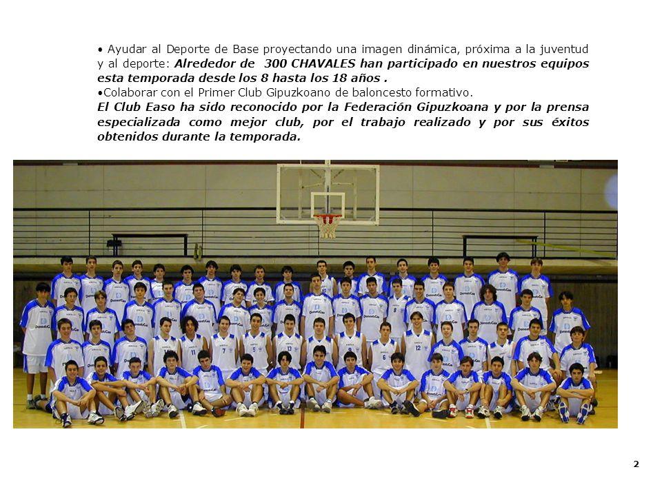 13 Club Baloncesto Easo Temporada 2002 - 2003 Actividad del Club Easo en Deporte Escolar El Club Easo se centra en la promoción del Baloncesto en edad Escolar siendo su objetivo la formación de escolares de los centros convenidos.