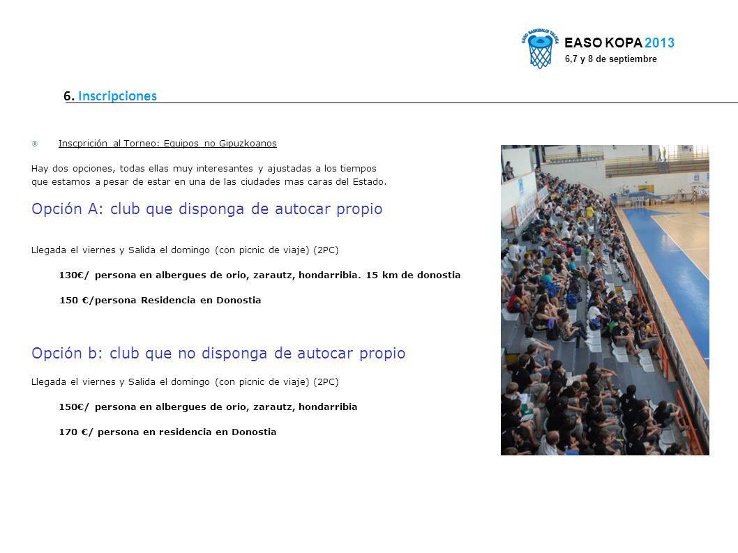 6. Inscripciones EASO KOPA 2013 6,7 y 8 de septiembre Inscprición al Torneo: Equipos no Gipuzkoanos Hay dos opciones, todas ellas muy interesantes y a