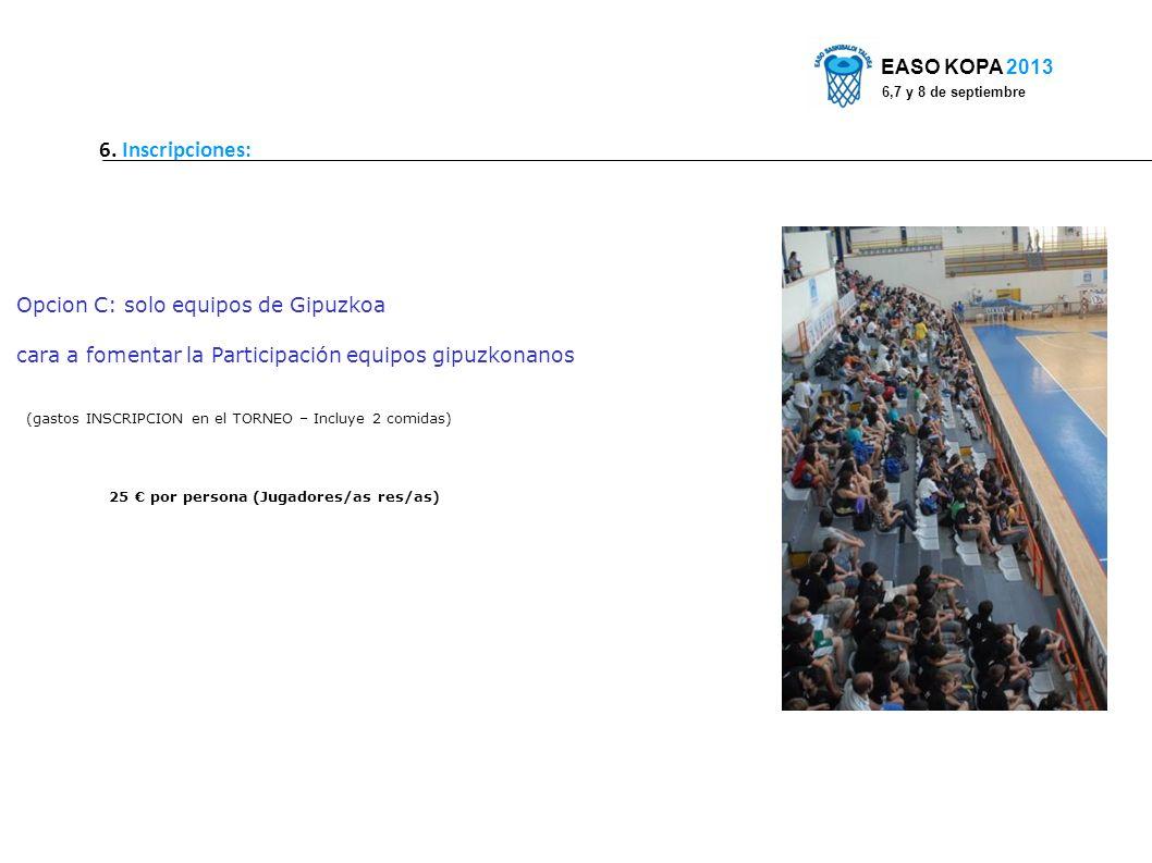 6. Inscripciones: EASO KOPA 2013 6,7 y 8 de septiembre Opcion C: solo equipos de Gipuzkoa cara a fomentar la Participación equipos gipuzkonanos (gasto