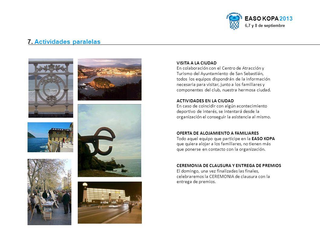 7. Actividades paralelas EASO KOPA 2013 6,7 y 8 de septiembre VISITA A LA CIUDAD En colaboración con el Centro de Atracción y Turismo del Ayuntamiento