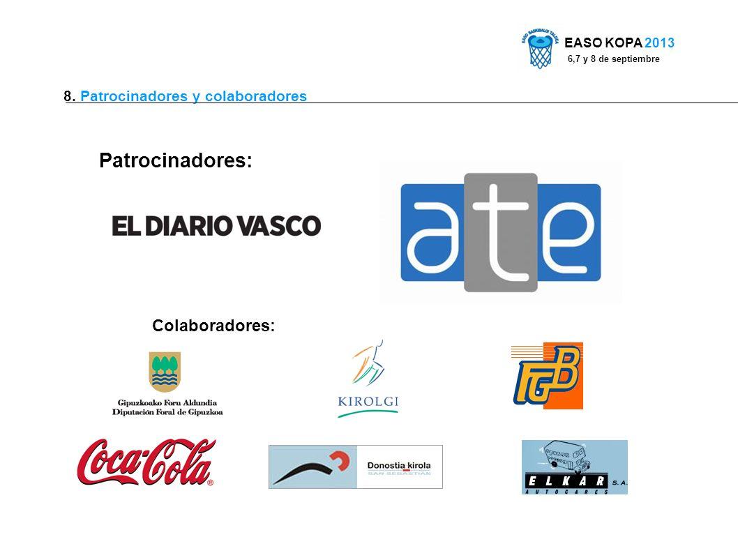 8. Patrocinadores y colaboradores Patrocinadores: Colaboradores: EASO KOPA 2013 6,7 y 8 de septiembre