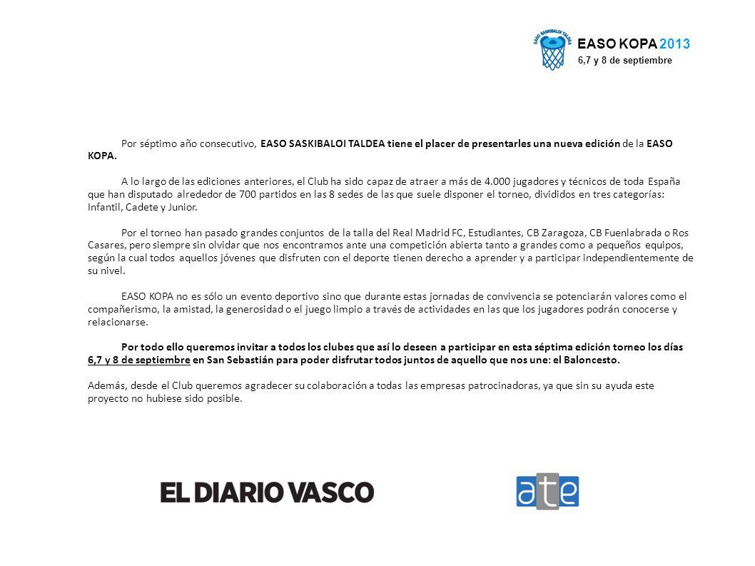 Por séptimo año consecutivo, EASO SASKIBALOI TALDEA tiene el placer de presentarles una nueva edición de la EASO KOPA.