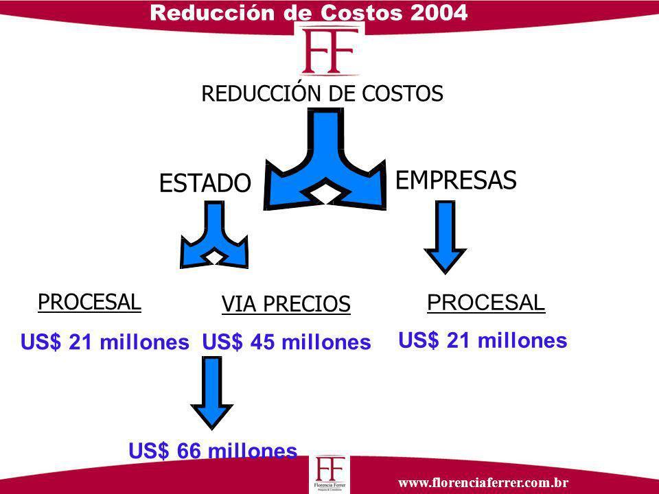 www.florenciaferrer.com.br Reducción de Costos 2004 REDUCCIÓN DE COSTOS PROCESAL VIA PRECIOS PROCESAL ESTADO EMPRESAS US$ 45 millones US$ 21 millones US$ 66 millones