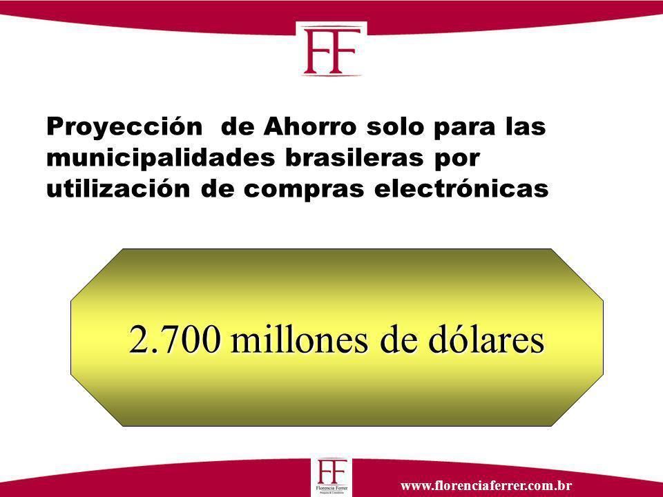 www.florenciaferrer.com.br Proyección de Ahorro solo para las municipalidades brasileras por utilización de compras electrónicas 2.700 millones de dólares