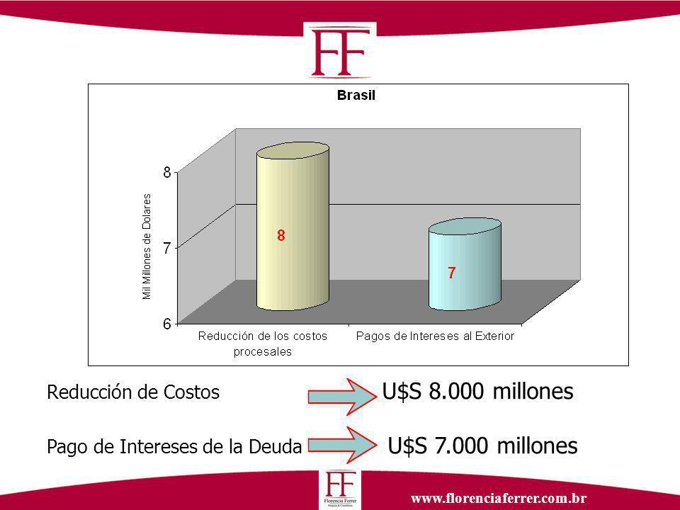 www.florenciaferrer.com.br Reducción de Costos U$S 8.000 millones Pago de Intereses de la Deuda U$S 7.000 millones