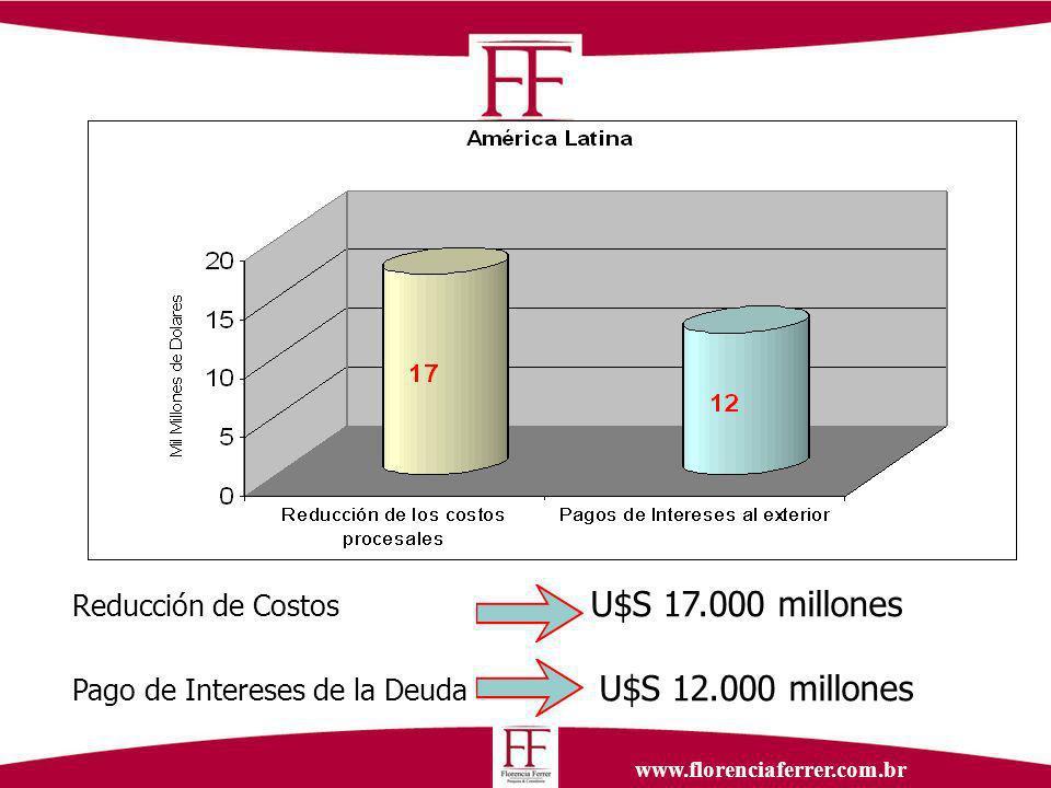 www.florenciaferrer.com.br Reducción de Costos U$S 17.000 millones Pago de Intereses de la Deuda U$S 12.000 millones