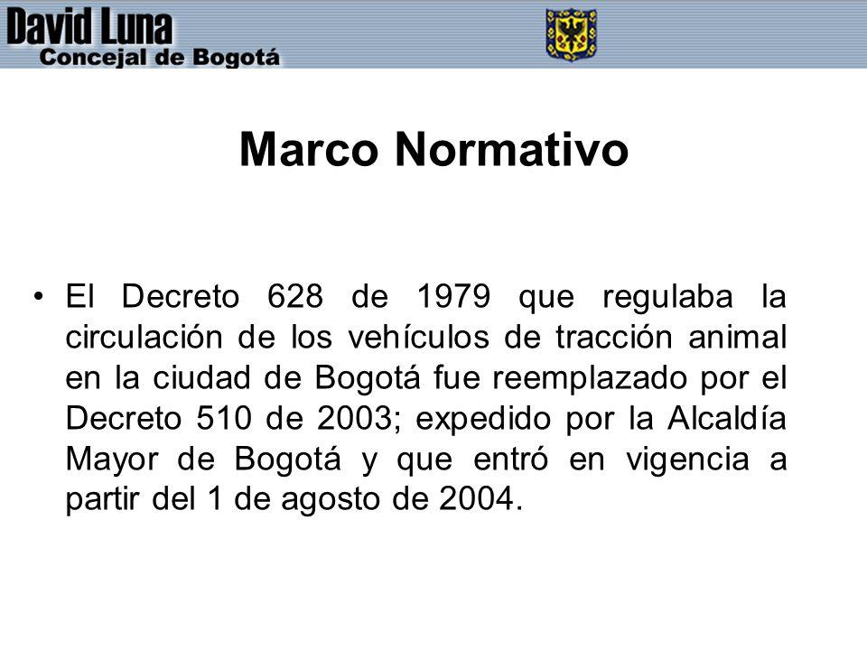 Marco Normativo El Decreto 628 de 1979 que regulaba la circulación de los vehículos de tracción animal en la ciudad de Bogotá fue reemplazado por el Decreto 510 de 2003; expedido por la Alcaldía Mayor de Bogotá y que entró en vigencia a partir del 1 de agosto de 2004.