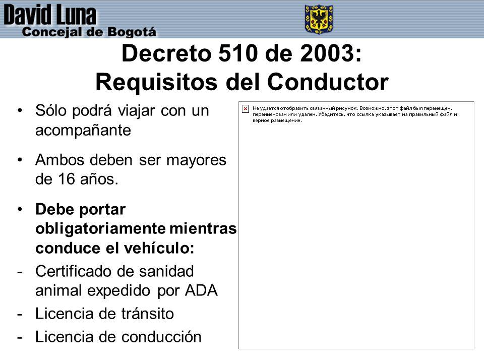 Decreto 510 de 2003: Requisitos del Conductor Sólo podrá viajar con un acompañante Ambos deben ser mayores de 16 años.