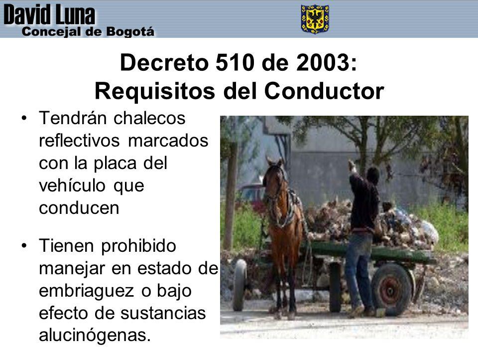 Decreto 510 de 2003: Requisitos del Conductor Tendrán chalecos reflectivos marcados con la placa del vehículo que conducen Tienen prohibido manejar en estado de embriaguez o bajo efecto de sustancias alucinógenas.