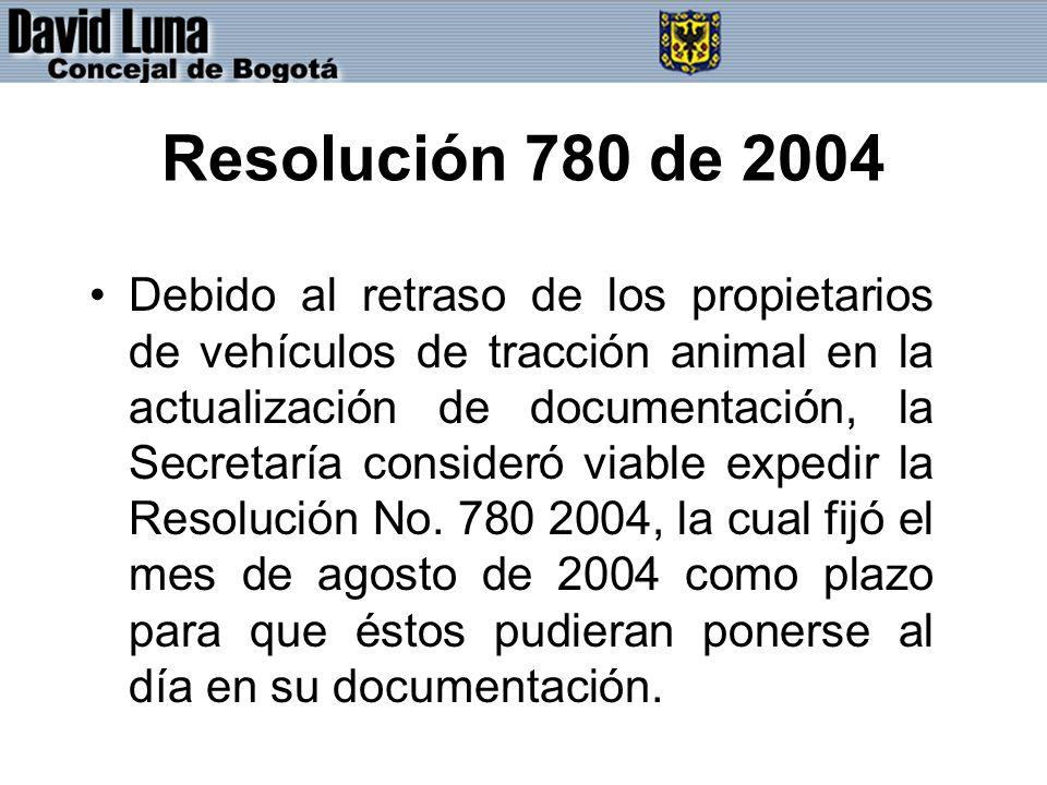 Resolución 780 de 2004 Debido al retraso de los propietarios de vehículos de tracción animal en la actualización de documentación, la Secretaría consideró viable expedir la Resolución No.