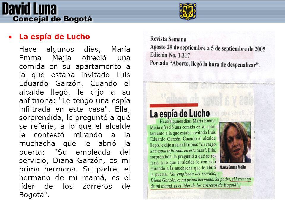 La espía de Lucho Hace algunos días, María Emma Mejía ofreció una comida en su apartamento a la que estaba invitado Luis Eduardo Garzón.