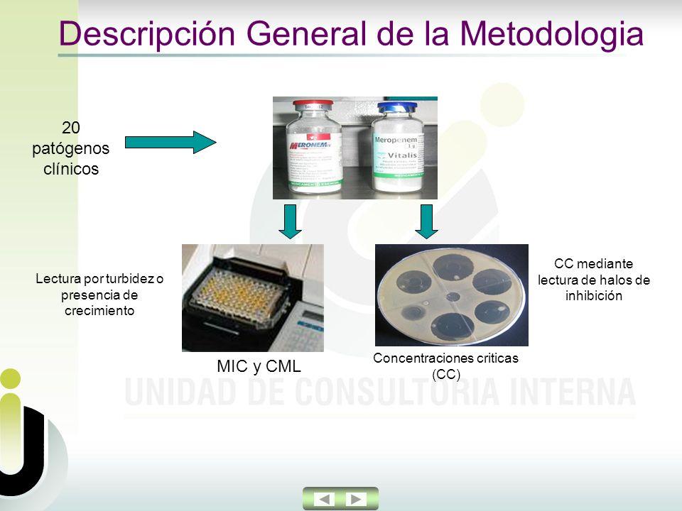 Descripción General de la Metodologia Concentraciones criticas (CC) 20 patógenos clínicos MIC y CML Lectura por turbidez o presencia de crecimiento CC mediante lectura de halos de inhibición
