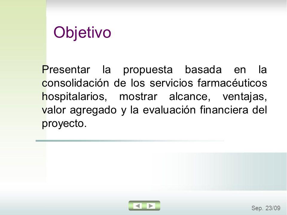 Sep. 23/09 Presentar la propuesta basada en la consolidación de los servicios farmacéuticos hospitalarios, mostrar alcance, ventajas, valor agregado y