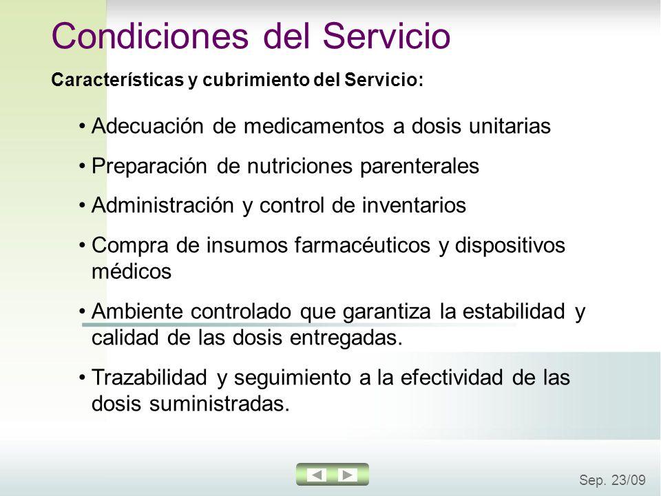 Sep. 23/09 Adecuación de medicamentos a dosis unitarias Preparación de nutriciones parenterales Administración y control de inventarios Compra de insu