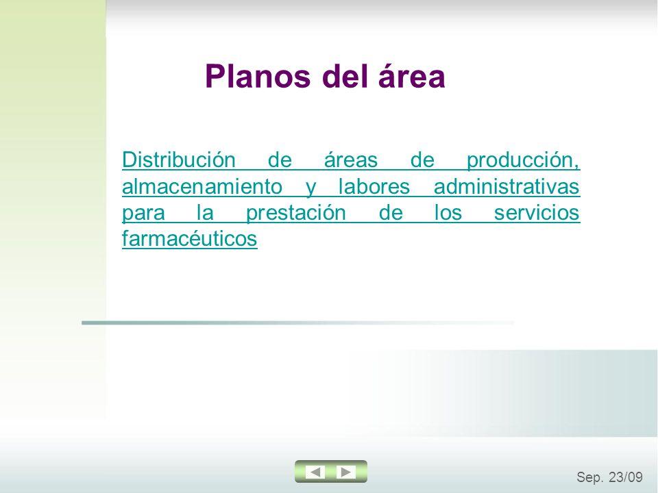 Sep. 23/09 Planos del área Distribución de áreas de producción, almacenamiento y labores administrativas para la prestación de los servicios farmacéut