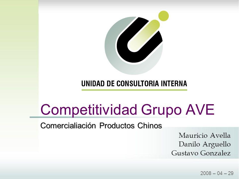 Competitividad Grupo AVE 2008 – 04 – 29 Mauricio Avella Danilo Arguello Gustavo Gonzalez Comercialiación Productos Chinos