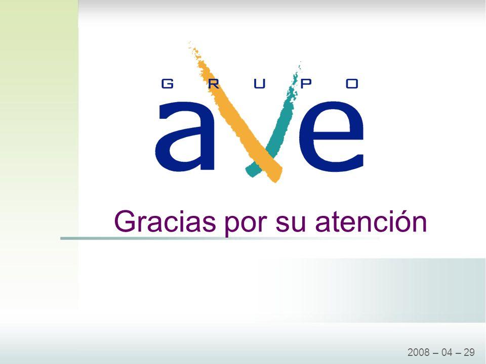 Gracias por su atención 2008 – 04 – 29