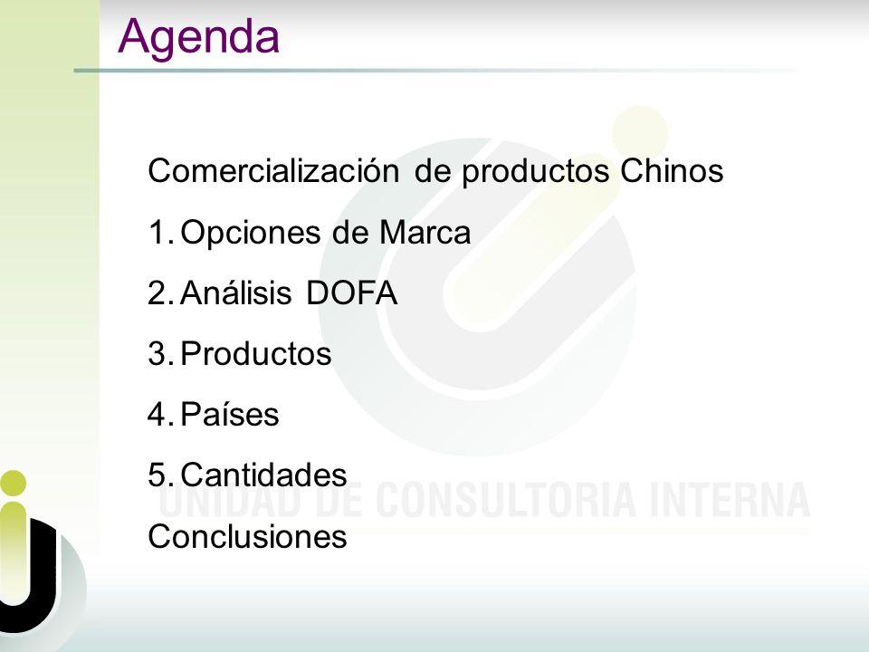 Agenda Comercialización de productos Chinos 1.Opciones de Marca 2.Análisis DOFA 3.Productos 4.Países 5.Cantidades Conclusiones