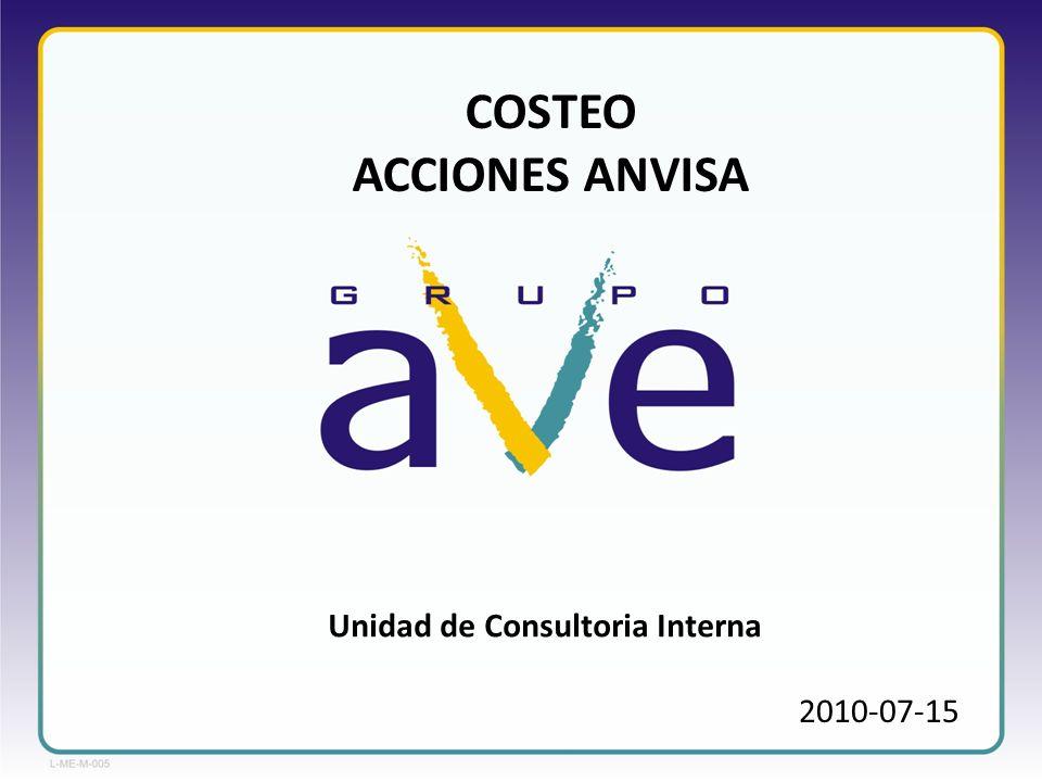 2010-07-15 COSTEO ACCIONES ANVISA Unidad de Consultoria Interna