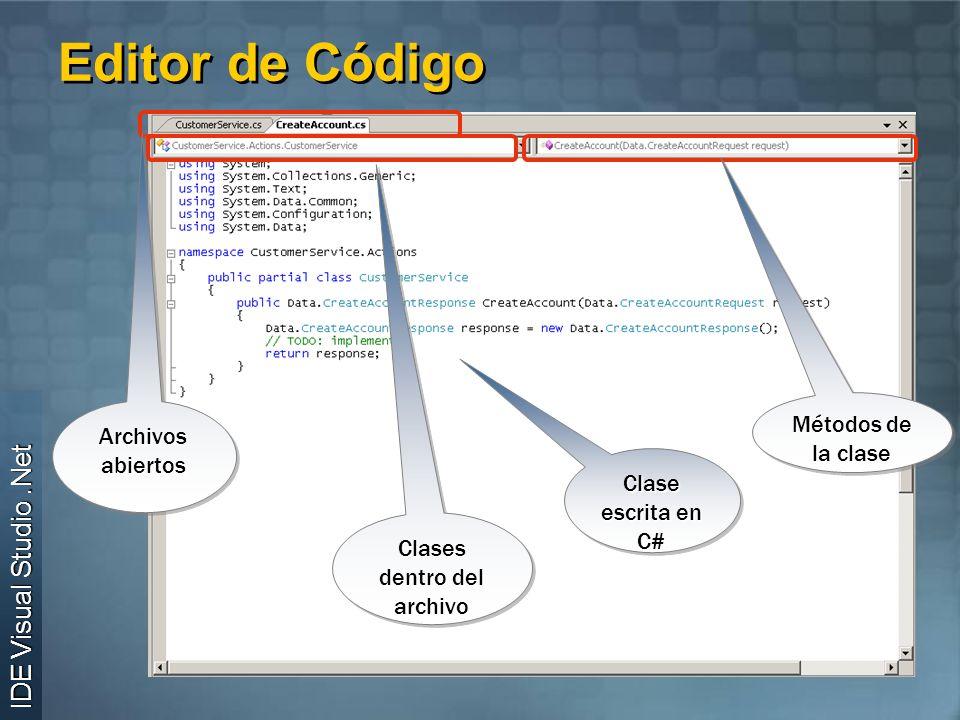 Editor de Código Archivos abiertos Clase escrita en C# Métodos de la clase Clases dentro del archivo IDE Visual Studio.Net