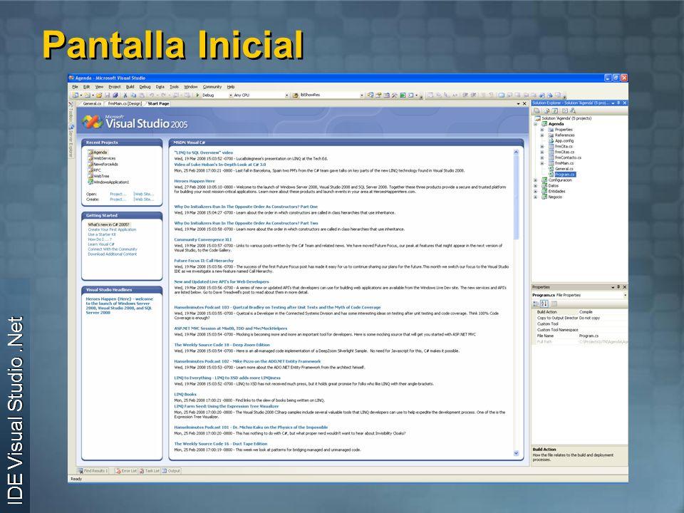 Pantalla Inicial IDE Visual Studio.Net