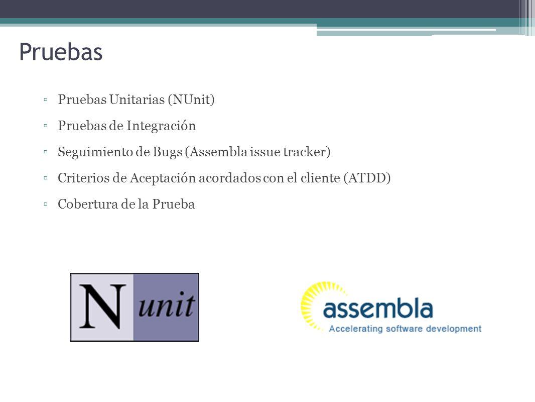 Pruebas Pruebas Unitarias (NUnit) Pruebas de Integración Seguimiento de Bugs (Assembla issue tracker) Criterios de Aceptación acordados con el cliente