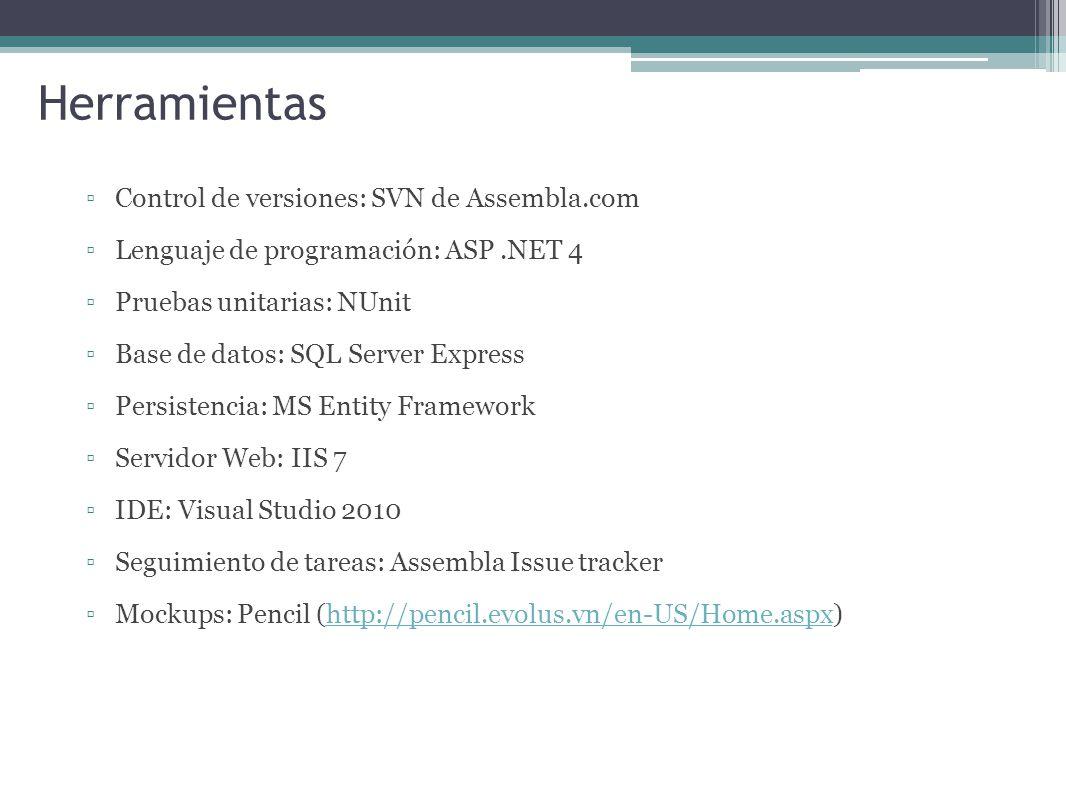 Herramientas Control de versiones: SVN de Assembla.com Lenguaje de programación: ASP.NET 4 Pruebas unitarias: NUnit Base de datos: SQL Server Express