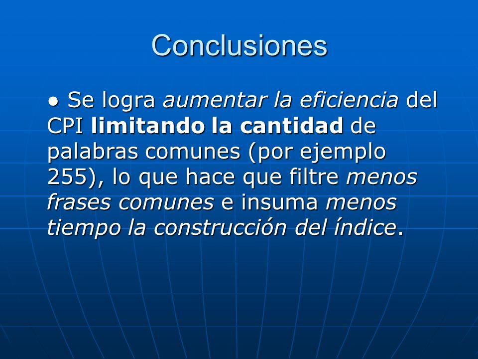 Conclusiones El CPI esta ligado a un idioma específico (por la lista de nonTerminalWords), para que pueda soportar varios idiomas necesitaría hacer reformas en la implementación.
