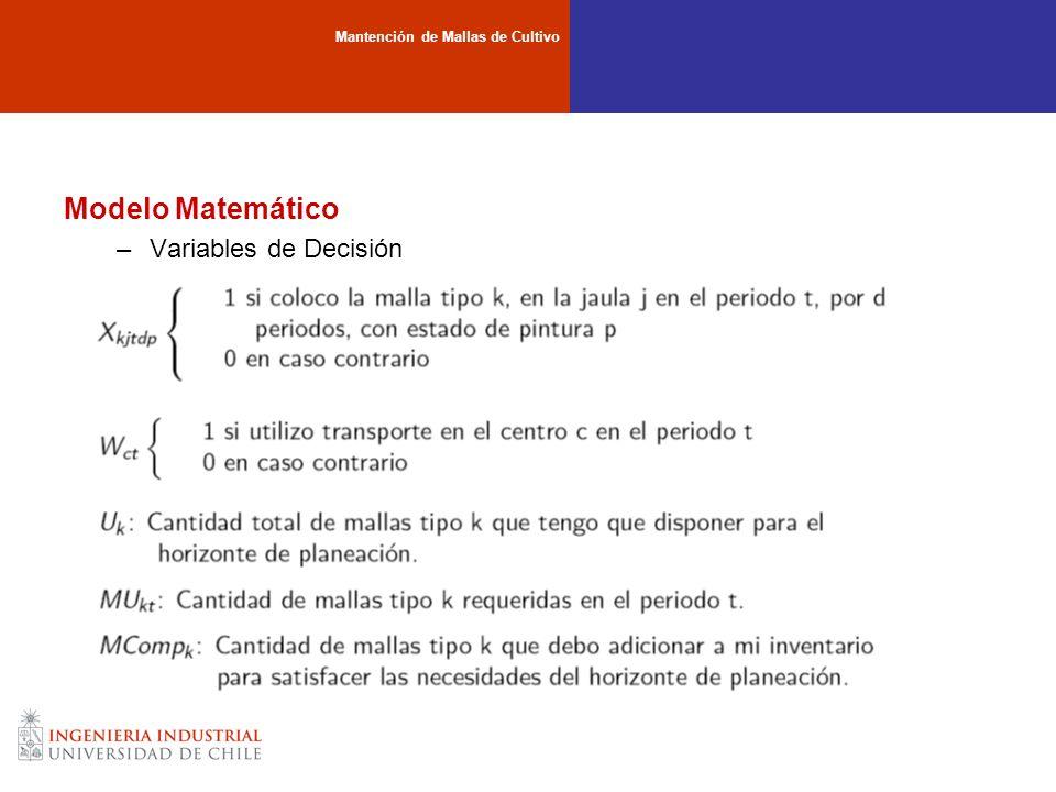 Modelo Matemático –Variables de Decisión Mantención de Mallas de Cultivo