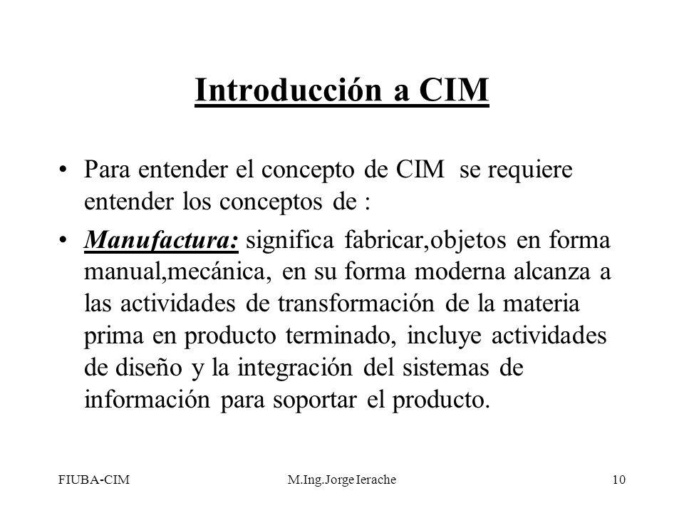 FIUBA-CIMM.Ing.Jorge Ierache10 Introducción a CIM Para entender el concepto de CIM se requiere entender los conceptos de : Manufactura: significa fabr