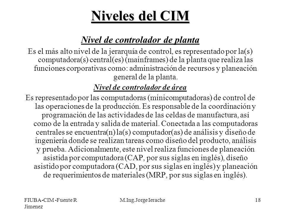 FIUBA-CIM -Fuente R Jimenez M.Ing.Jorge Ierache18 Niveles del CIM Nivel de controlador de planta Es el más alto nivel de la jerarquía de control, es r