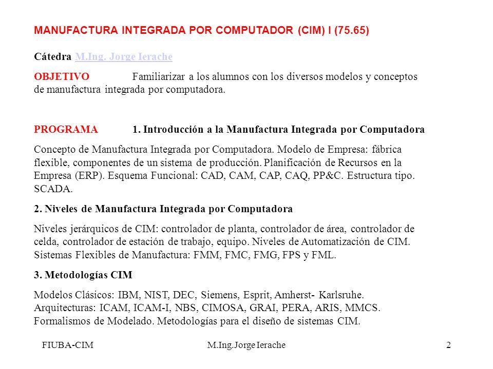 FIUBA-CIM -Fuente R Jiménez M.Ing.Jorge Ierache13 Funcionalidad del producto Conformación del Producto Conformación del proceso Capacidad del proceso Integración Proceso y Producto Inteligencia del Proceso Sistema de Manuf.