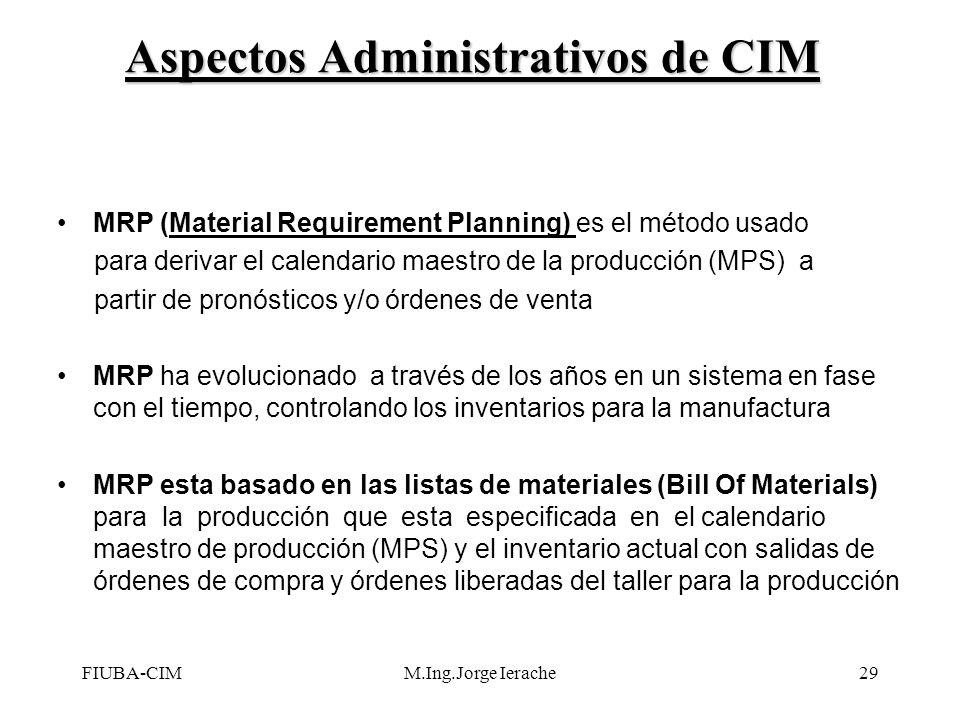 FIUBA-CIMM.Ing.Jorge Ierache29 Aspectos Administrativos de CIM MRP (Material Requirement Planning) es el método usado para derivar el calendario maest