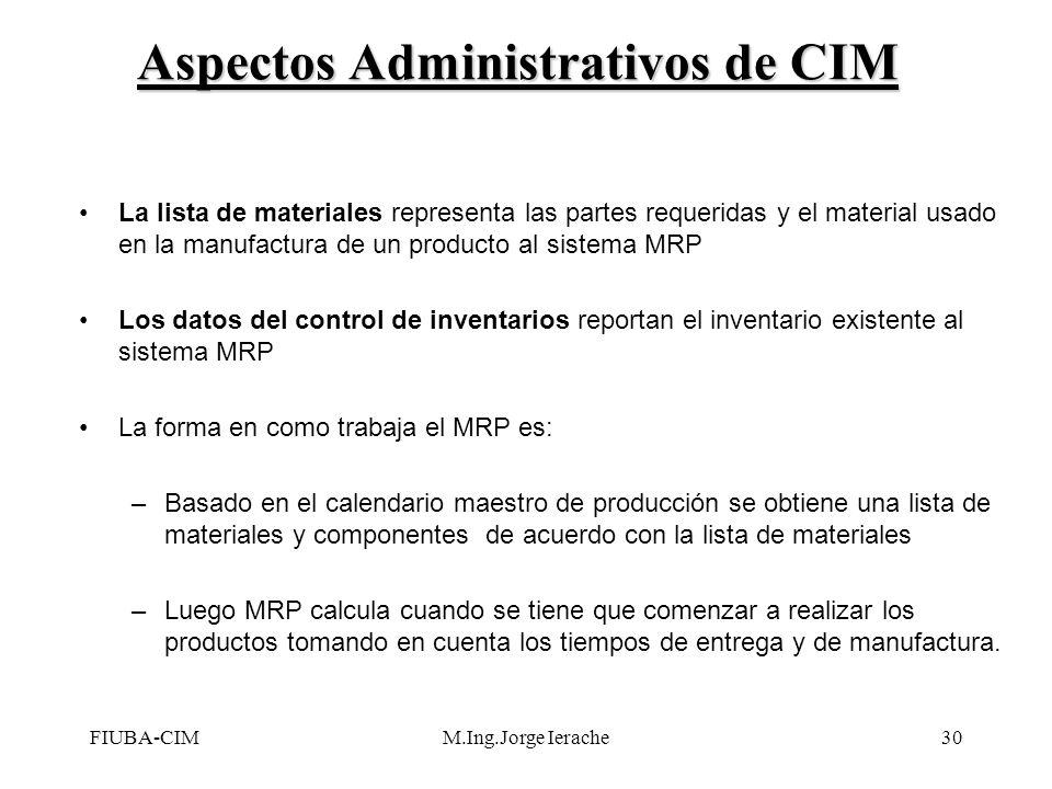 FIUBA-CIMM.Ing.Jorge Ierache30 La lista de materiales representa las partes requeridas y el material usado en la manufactura de un producto al sistema