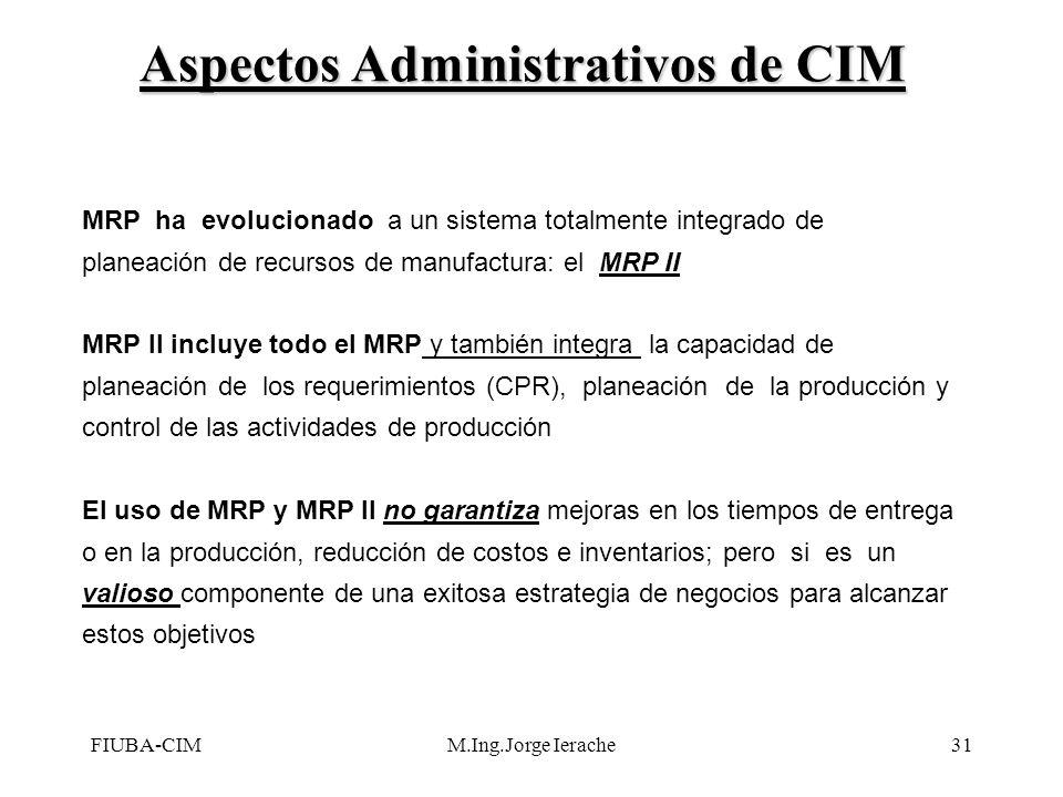 FIUBA-CIMM.Ing.Jorge Ierache31 MRP ha evolucionado a un sistema totalmente integrado de planeación de recursos de manufactura: el MRP II MRP II incluy