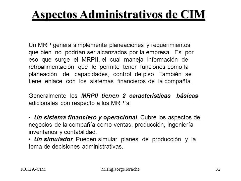 FIUBA-CIMM.Ing.Jorge Ierache32 Un MRP genera simplemente planeaciones y requerimientos que bien no podrían ser alcanzados por la empresa. Es por eso q
