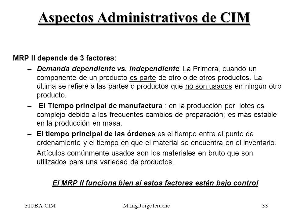 FIUBA-CIMM.Ing.Jorge Ierache33 MRP II depende de 3 factores: –Demanda dependiente vs. independiente. La Primera, cuando un componente de un producto e