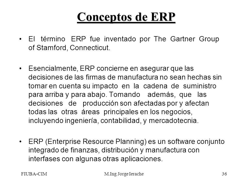 FIUBA-CIMM.Ing Jorge Ierache36 El término ERP fue inventado por The Gartner Group of Stamford, Connecticut. Esencialmente, ERP concierne en asegurar q
