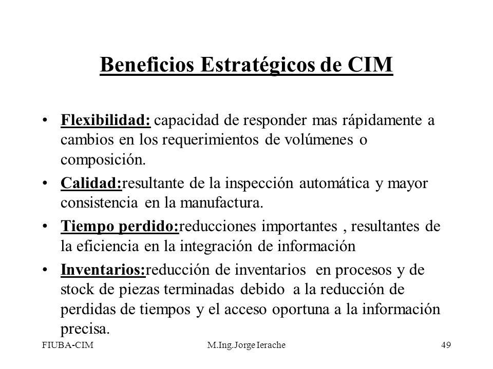 FIUBA-CIMM.Ing.Jorge Ierache49 Beneficios Estratégicos de CIM Flexibilidad: capacidad de responder mas rápidamente a cambios en los requerimientos de