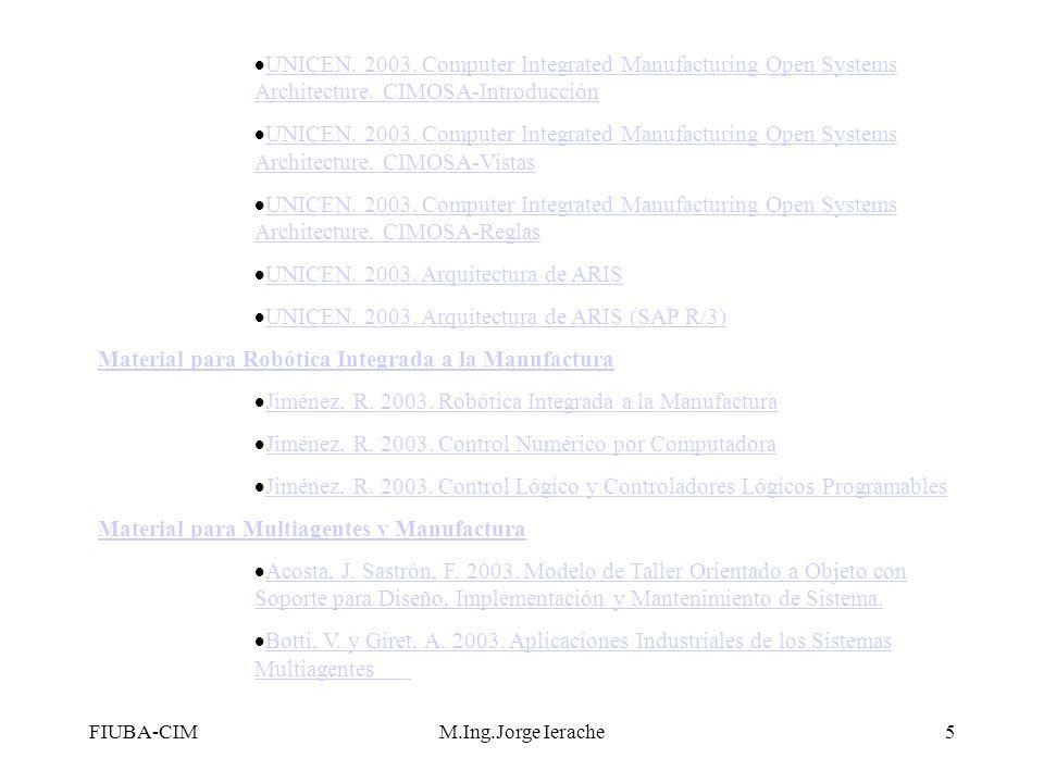 FIUBA-CIMM.Ing.Jorge Ierache6 TRABAJOS FINALESLa cátedra propone los siguientes temas de Trabajos Finales Monogáficos Metodologías Multiagentes Arquitecturas y Modelos CIM Metodologías de aplicacion al area CIM Formato de Informes correspondientes a Trabajo Final Monográfico y Trabajo Final Experimental
